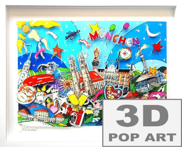 München Bayern 3D skyline pop art Bild