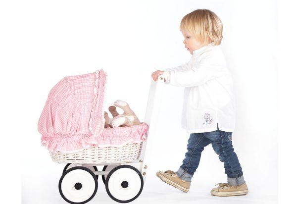 Korbpuppenwagen 'Marion', inkl. Bettzeug Dessin 'Vichy-Karo', rosa