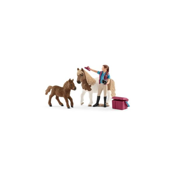 Pferdepflegerin mit Shettys