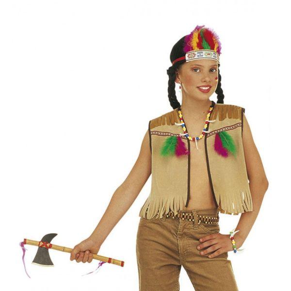 INDIANER Dress- Up- Set (Weste, Stirnband mit Federn, Ohrring, Armband)