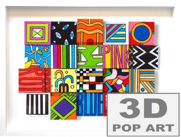 Bunte Quadrate 3D pop art Bild