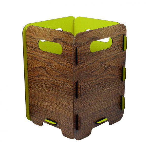 Patty Paperbasket wood/yellow