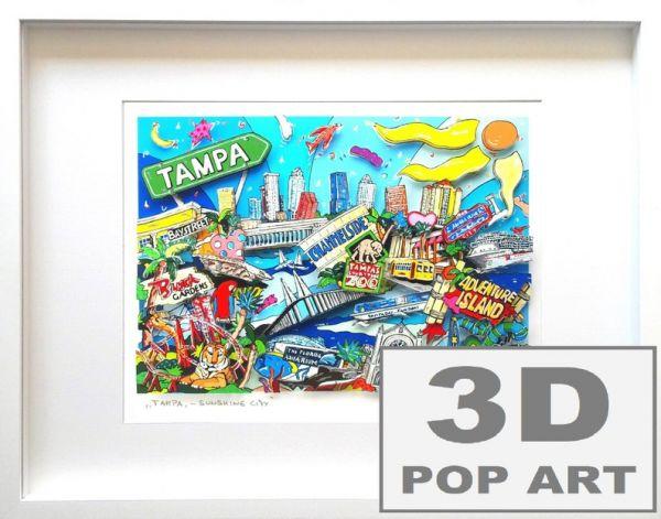 Tampa Florida 3D Skyline pop art Bild