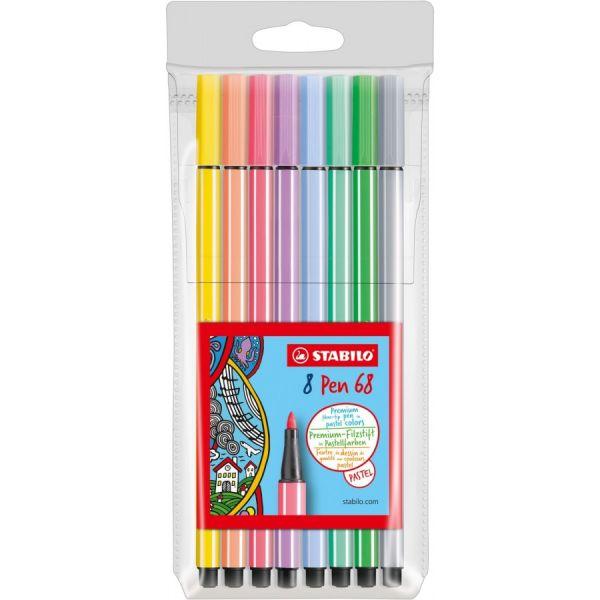 Stabilo Pen 68 8er Etui Pastellfarben