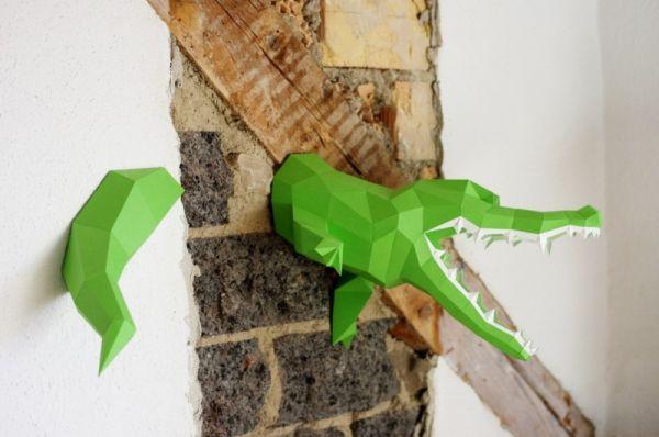 Krokodil Wandskulptur